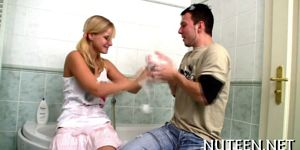 Chick undresses her boyfriend